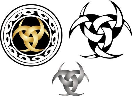 moon talisman - drie met elkaar verweven halve manen Stock Illustratie