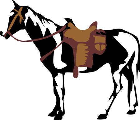 paint horse with saddle Vector