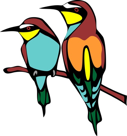 two bee eaters Vector