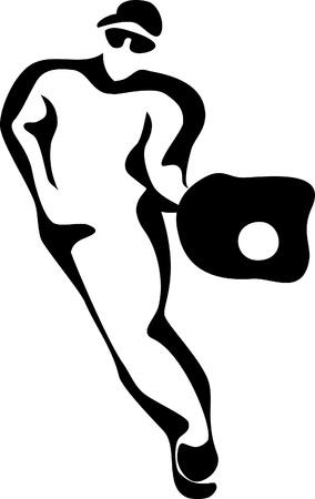 stylized baseball player Illustration