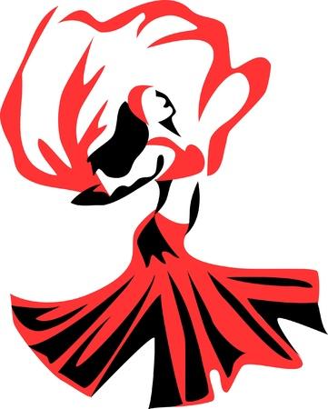 belly dancer with a veil Illustration