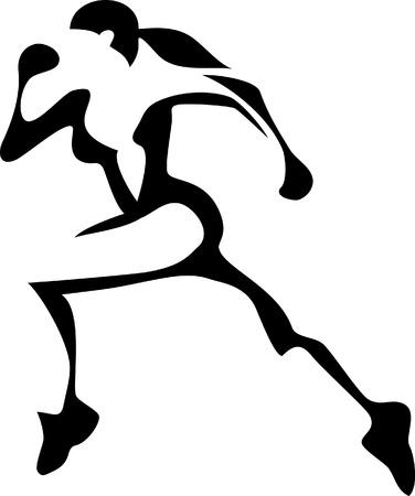 gestileerde lopende vrouw Stock Illustratie