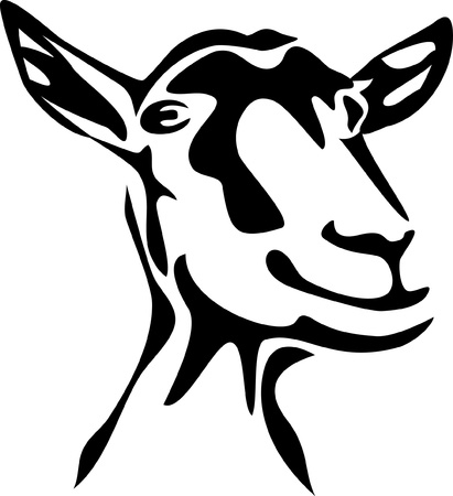 goat cheese: head of goat Illustration
