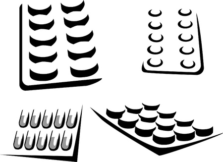 blister: stylized pills in the blister pack Illustration
