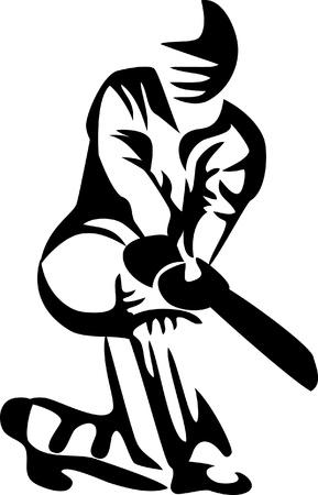 cricket speler Stock Illustratie