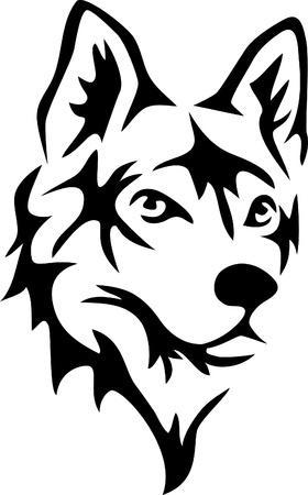husky: dog head Illustration