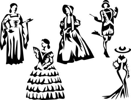 edad media: vestidos históricos de las mujeres Vectores