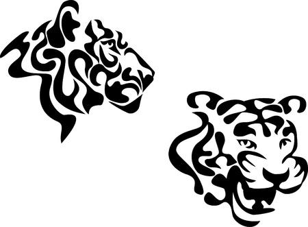silueta tigre: cabeza del tigre estilizada Vectores