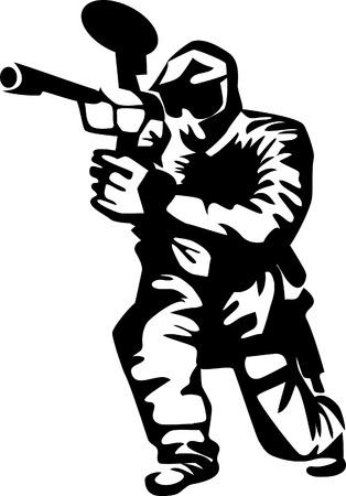 paint gun: paintball player