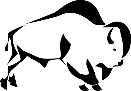 american bison: stylized bison Illustration