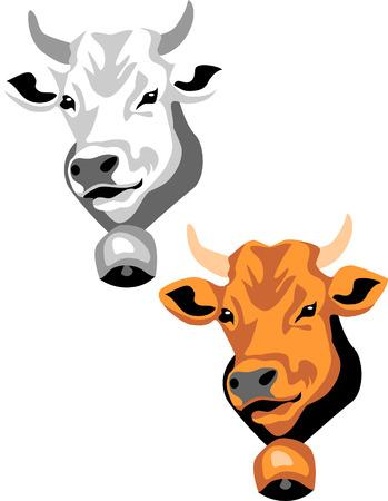 vacas lecheras: Cabeza de Vaca Vectores