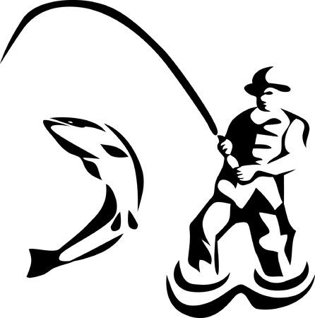 fishing pole: fisherman