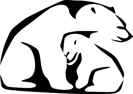 cub: stylized polar bear with young Illustration