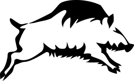 stylized wild boar