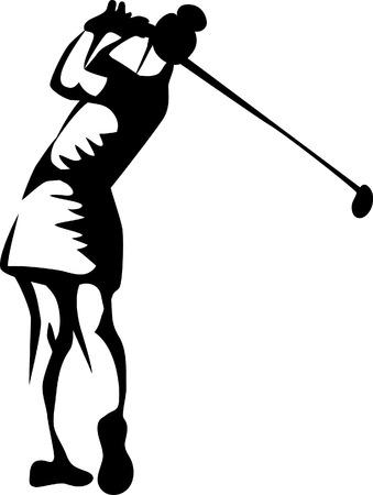 se�oras: mujer jugando al golf Vectores