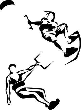 stylized kite surfing