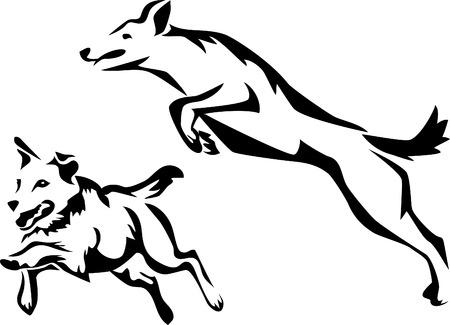 agility dog: stylized dog agility