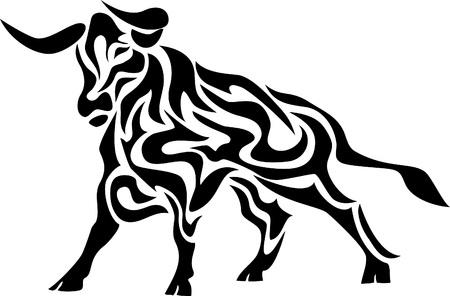 toro: toro tribal Vectores