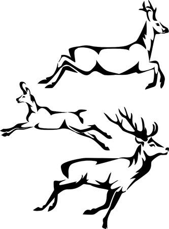 様式化された実行中の鹿  イラスト・ベクター素材