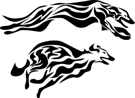 borzoi: stylized greyhound racing