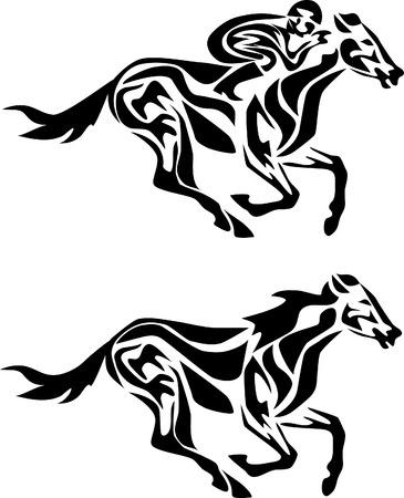 uomo a cavallo: cavallo in corsa stilizzato