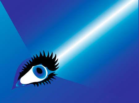 human eye with beam Vector