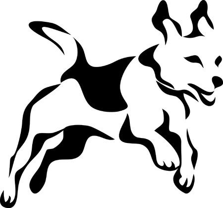 stylized jumping beagle