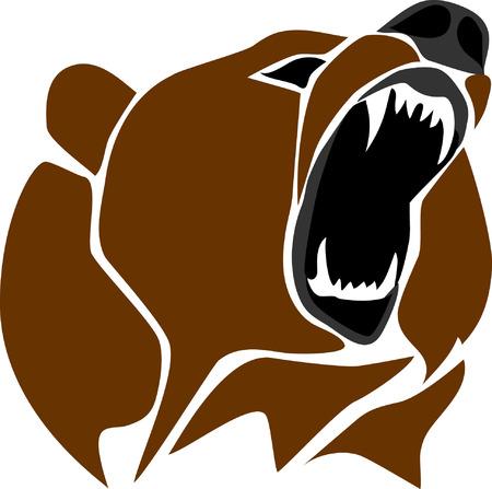 angry bear: estilizada cabeza de oso enojado Vectores
