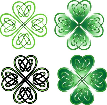 vierblättriges Kleeblatt - Celtic Ornament Illustration