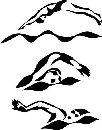 kapaklar: stilize yüzücü Çizim