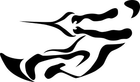 slalom: stylized waterskiing