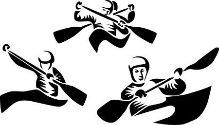 slalom: slalom kajaków i kanoe Ilustracja