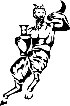 pitcher: satyr with pitcher and horn