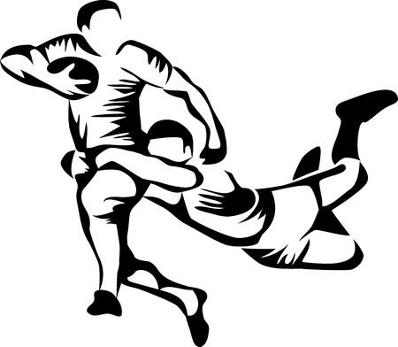 pelota rugby: jugadores de rugby  Vectores