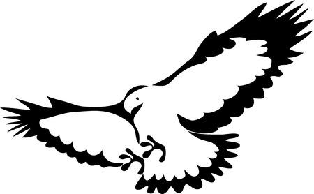 bird of prey: Attacking eagle - stylized illustration Illustration
