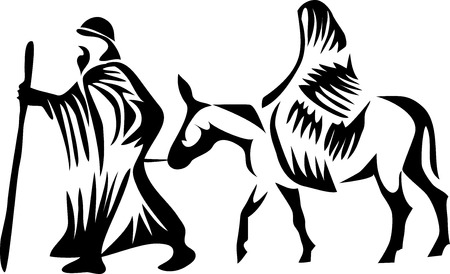 birth of jesus: Joseph and Mary on donkey