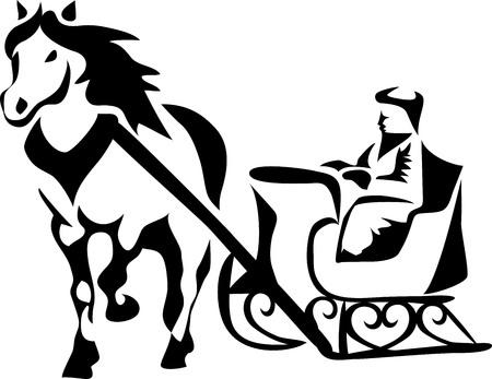 cavallo slitta trainata Vettoriali
