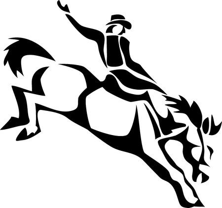 reins: rodeo cowboy Illustration
