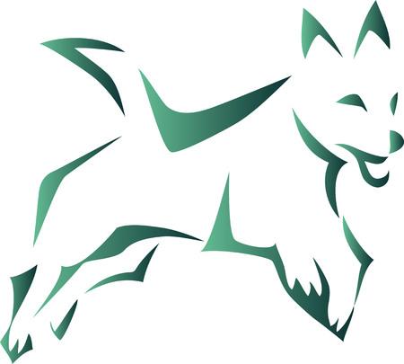 Dog jumping - stylized illustration