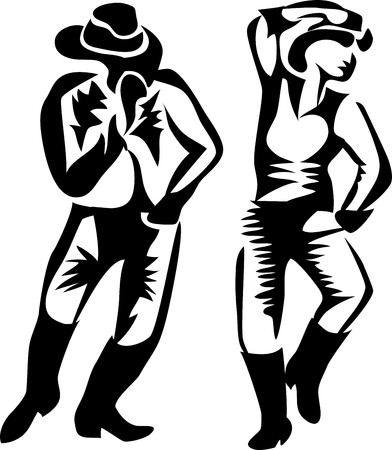 danse country Vecteurs