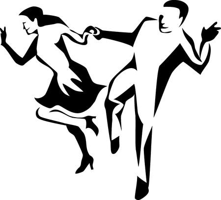 jive dancers Illustration