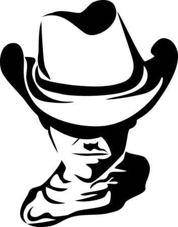 rancher: with cowboy hat - black and white stylized illustration