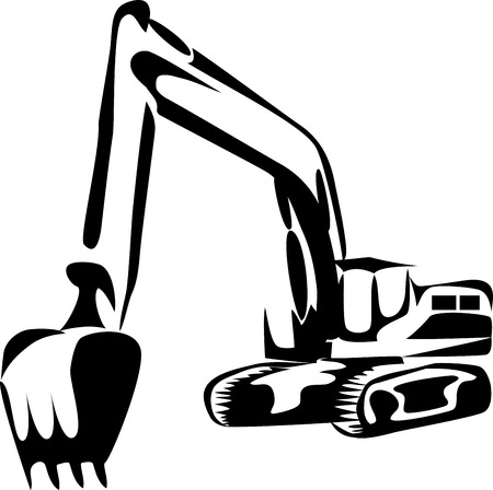 Excavator illustration Illustration
