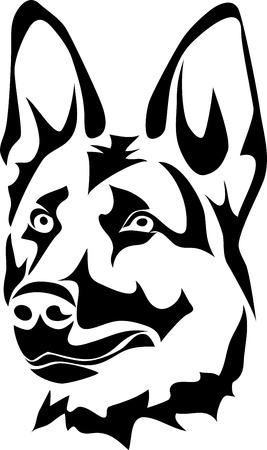 ドイツのシェパード犬の頭