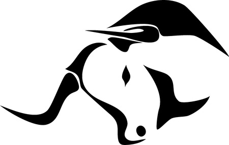 bull horn: bull head - stylized illustration