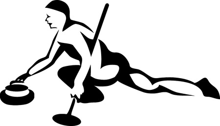 curling: Curling player - stylized illustration