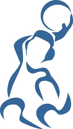 waterpolo: jugador de polo del agua - ilustración estilizada Vectores