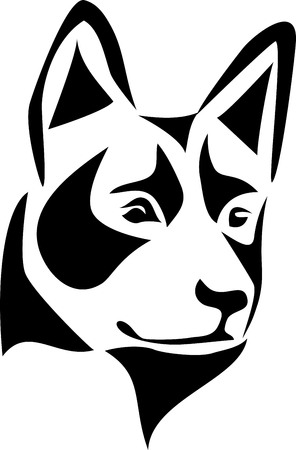 Head of Australian cattle dog Illustration