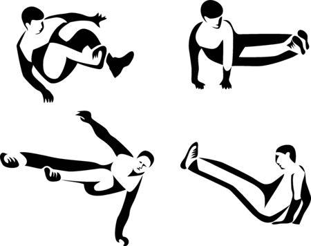 Parkour - ilustraciones estilizadas