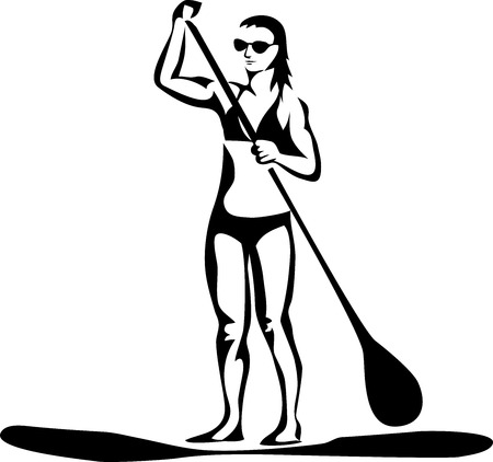 Stand-up paddle boarding woman